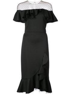 платье со спущенными плечами и оборками Marchesa Notte