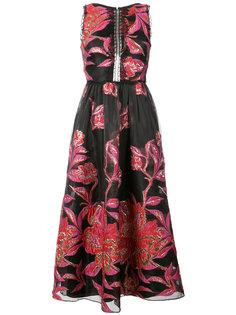 жаккардовое платье с цветочным принтом металлик  Marchesa Notte