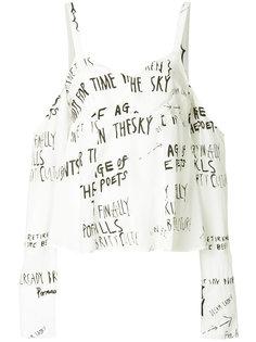 блузка с открытыми плечами с принтом Handwritting Each X Other