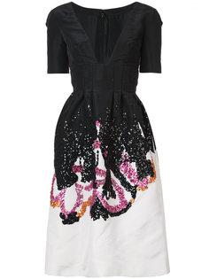 коктейльное платье с глубоким V-образным вырезом  Oscar de la Renta