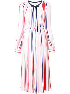 расклешенное платье-рубашка в полоску  Oscar de la Renta