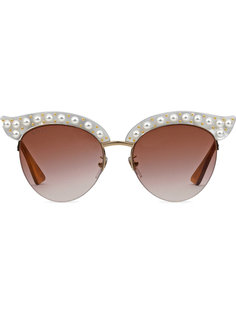 Cat eye acetate sunglasses with pearls Gucci Eyewear