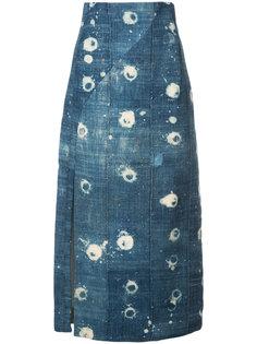 юбка из ткани шамбре с высокой талией Adam Lippes