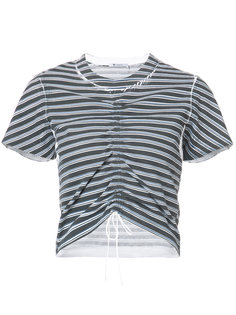 присборенная полосатая футболка T By Alexander Wang