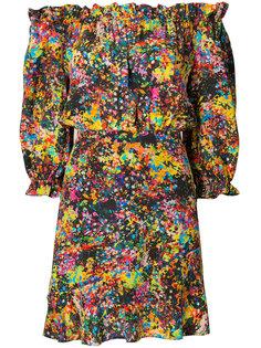 платье с цветочным рисунком и открытыми плечами Saloni