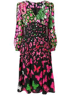 платье с принтом бабочек  Cavalli Class
