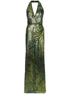 платье халтер с блестками  Elie Saab