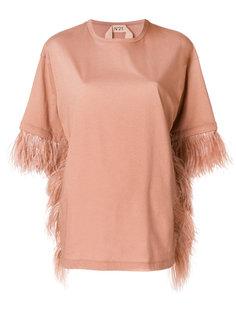 оверсайз-футболка с отделкой перьями  Nº21