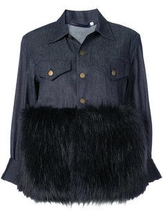 джинсовая куртка с контрастным пушистым подолом Harvey Faircloth