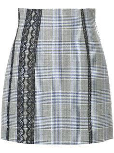 юбка в клетку с кружевом MSGM