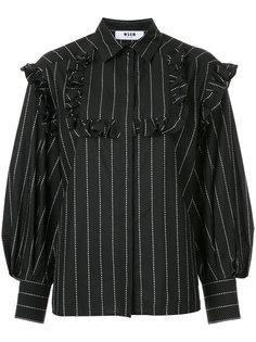 рубашка в полоску с оборками MSGM