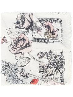 шарф с рисунком Crawling Rose Alexander McQueen