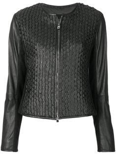 приталенная кожаная куртка Emporio Armani