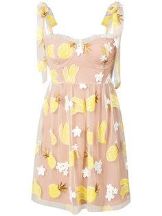 платье с вышитыми ананасами и бананами For Love And Lemons