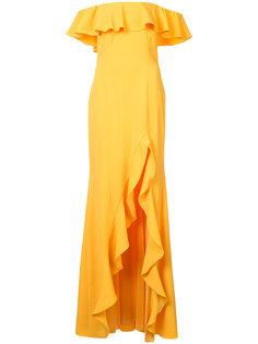 вечернее платье с открытыми плечами и оборками Jay Godfrey