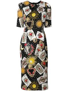 платье с принтом игральных карт  Dolce & Gabbana