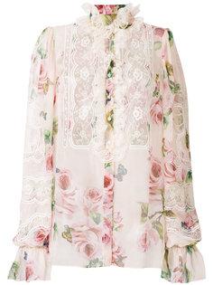 рубашка с кружевной вставкой и цветочным принтом  Dolce & Gabbana