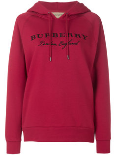 logo embroidered hoodie Burberry