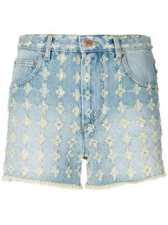 джинсовые шорты с цветочной отделкой  Isabel Marant Étoile