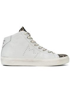 hi-top zebra sneakers Leather Crown
