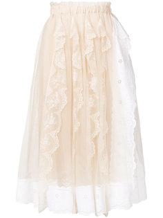 плиссированная юбка с кружевной отделкой  Simone Rocha