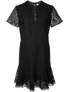 ажурное мини-платье с оборкой на подоле Saint Laurent
