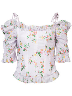 floral print dropped shoulders corset blouse Brock Collection