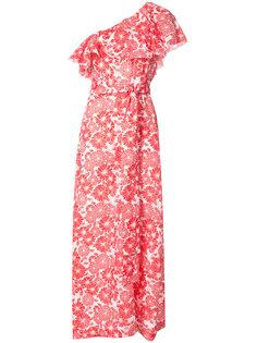 платье на одно плечо с рисунком и оборками Lisa Marie Fernandez