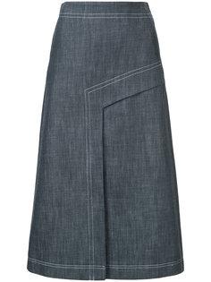 джинсовая юбка А-образного силуэта Tibi