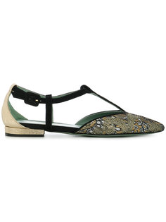 patterned T-bar ballerina shoes Paola Darcano