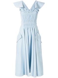 платье миди с оборками Carven