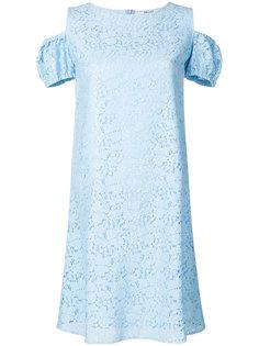 платье с вышивкой и открытыми плечами  Blugirl