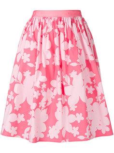 юбка с цветочным принтом и сборками Emporio Armani