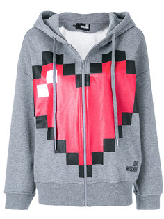 pixel heart print zipped hoodie Love Moschino