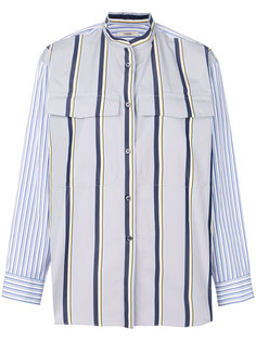 striped mandarin collar shirt Odeeh