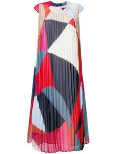 плиссированное платье с геометрическим узором Steffen Schraut