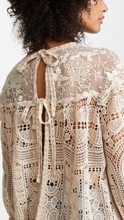 Anna Sui Cupids Clouds & Scallop Lace Top
