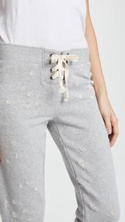 David Lerner Distressed Cropped Track Pants