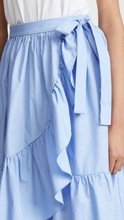 ENGLISH FACTORY Wrap Skirt with Ruffle Hem