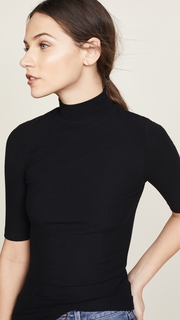 GETTING BACK TO SQUARE ONE Mock Neck Elbow Sleeve Tee