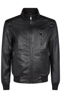 Куртка из натуральной кожи с отделкой трикотажем Al Franco