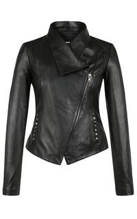 Кожаная куртка с косой молнией La Reine Blanche