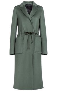 Шерстяное пальто с поясом на кулиске Pompa