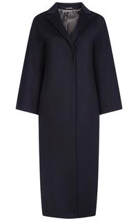 Черное шерстяное пальто Pompa