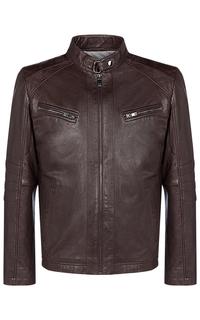 Коричневая кожаная куртка Jorg Weber