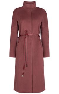 Шерстяное пальто с поясом из экокожи Pompa