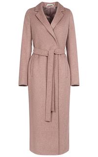 Женское текстильное пальто с поясом из текстильных материалов Pompa