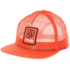 Бейсболка с прямым козырьком Poler Treepee Full Mesh Trucker Burnt Orange