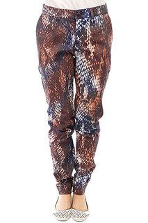 Штаны прямые женские Extra Higher Level Brown Orange Snake Print