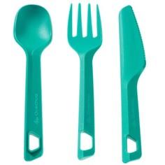 Набор Из 3 Столовых Предметов Для Походов (нож, Вилка, Ложка) Из Пластика Quechua